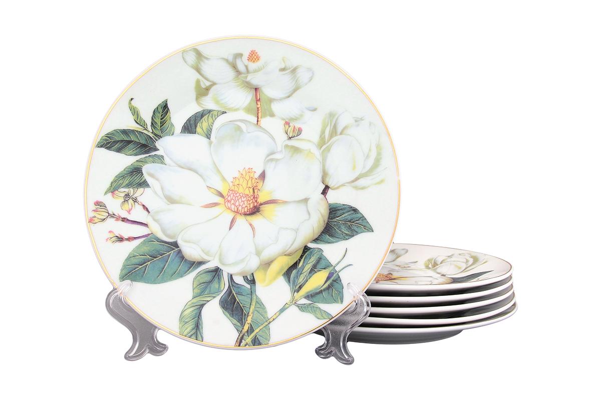 Набор тарелок Elan Gallery Белый шиповник, 6 предметов471285Набор, выполненный из высококачественной керамики, состоит из 6 тарелок и предназначен для красивой сервировки различных блюд. Изделия украшены цветочным рисунком. Набор сочетает в себе стильный дизайн с максимальной функциональностью. Диаметр 19 см.