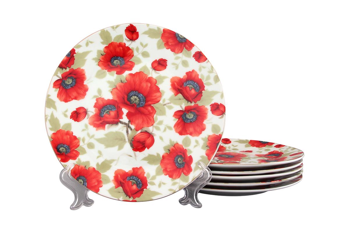 Набор тарелок Elan Gallery Маки, 6 предметов471286Набор, выполненный из высококачественной керамики, состоит из 6 тарелок и предназначен для красивой сервировки различных блюд. Изделия украшены цветочным рисунком. Набор сочетает в себе стильный дизайн с максимальной функциональностью. Диаметр 19 см.