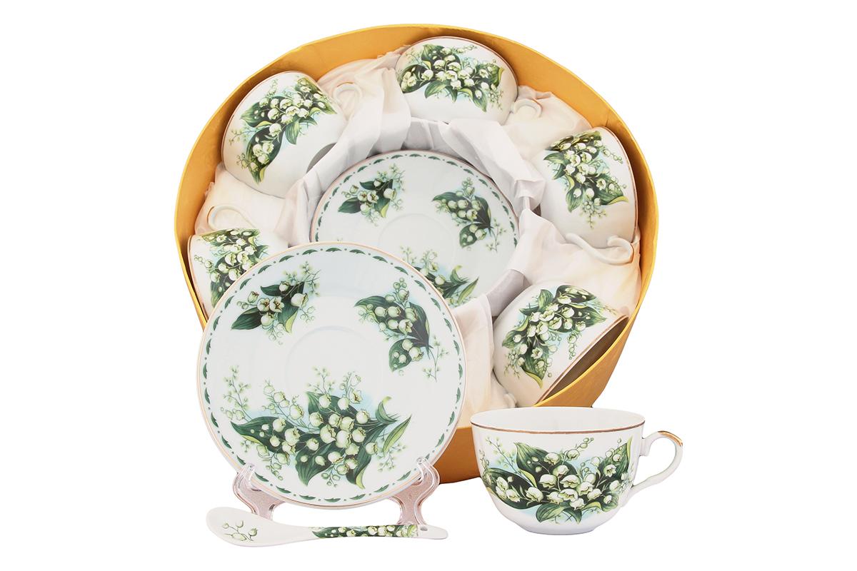 Чайный набор Elan Gallery Ландыши, 12 предметов с ложками471352Чайный сервиз на 6 персон из серии в красивой подарочной упаковке. Легкие изящные чашки объемом 250 мл, большие блюдца. В комплекте 6 чашек, 6 блюдец, 6 ложечек. Этот чайный сервиз подходит для праздничного стола и является великолепным подарком! Размеры: 105x60x95 мм, 145x145x20 мм.