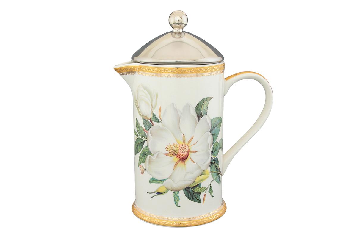 Чайник с поршнем Elan Gallery Белый шиповник, 750 мл503742Яркая посуда подарит настроение и уют, привнесет разнообразие в приготовление ваших любимых блюд и сервировку семейного стола