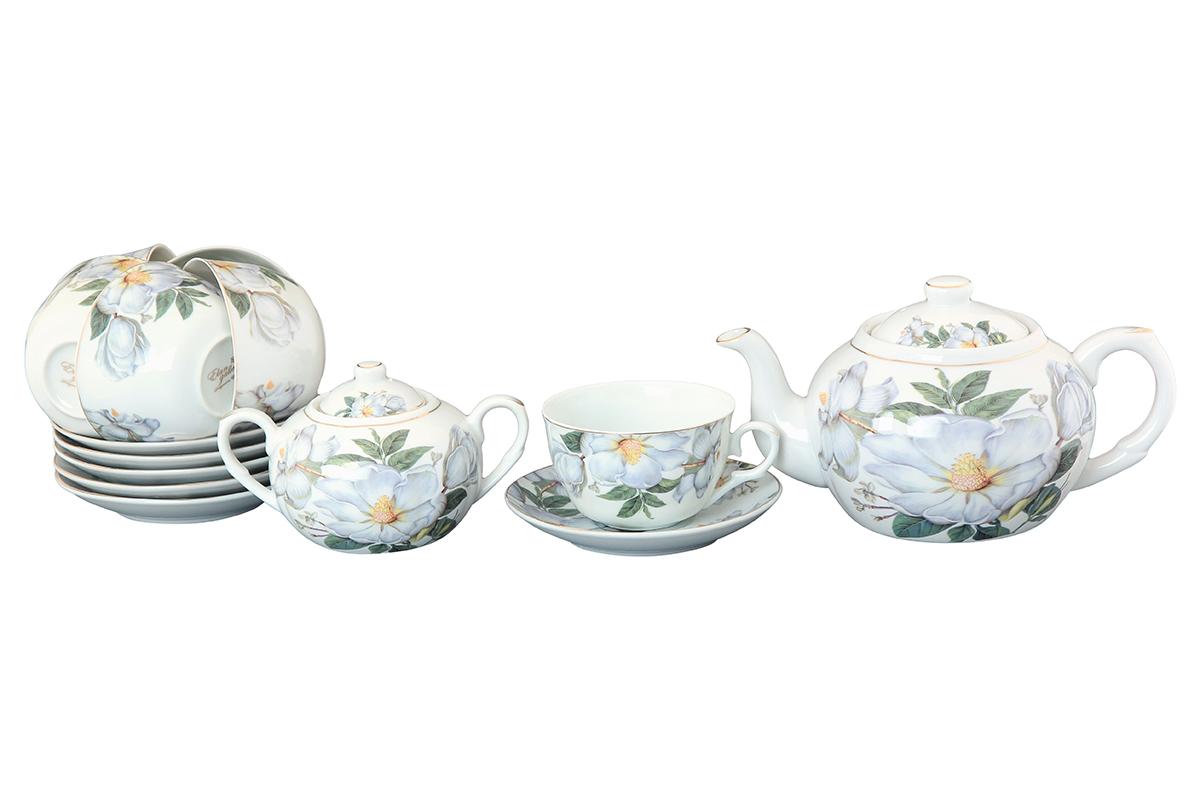 Чайный набор Elan Gallery Белый шиповник, 14 предметов730504Чайный сервиз на 6 персон из традиционной коллекции Белый шиповник - неотъемлемый атрибут чаепития и служит не только посудой, но и источником эстетического наслаждения. Изделие имеет подарочную упаковку, идеальный подарок для ваших близких! Чашки -250 мл., сахарница - 400 мл., чайник - 900 мл. Размеры: 60x110x95 мм, 140x140x20 мм.