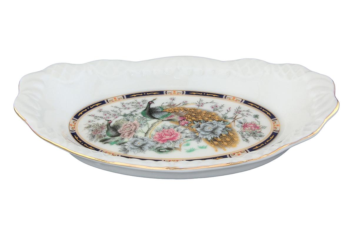 Шпротница Elan Gallery Павлин. 740211740211Яркая посуда подарит настроение и уют, привнесет разнообразие в приготовление ваших любимых блюд и сервировку семейного стола