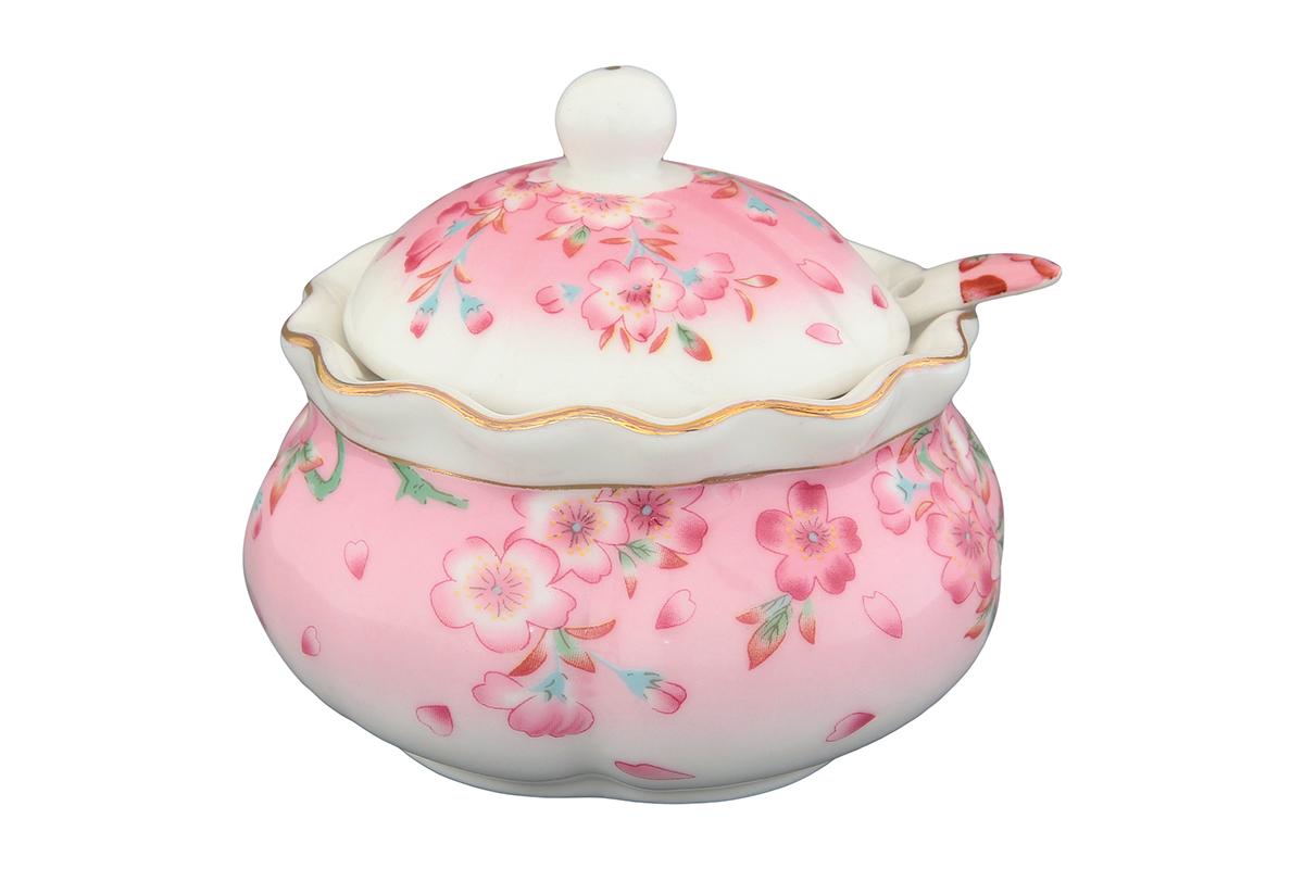 Хреновница Elan Gallery Сакура, с ложкой, 200 мл740220Оригинальная хреновница, изготовленная из керамики благодаря красочному дизайну, прекрасно дополнит сервировку вашего стола.