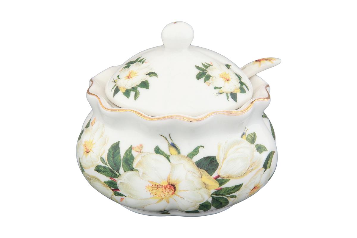 Хреновница Elan Gallery Белый шиповник, с ложкой740221Оригинальная хреновница, изготовленная из керамики благодаря красочному дизайну, прекрасно дополнит сервировку вашего стола.