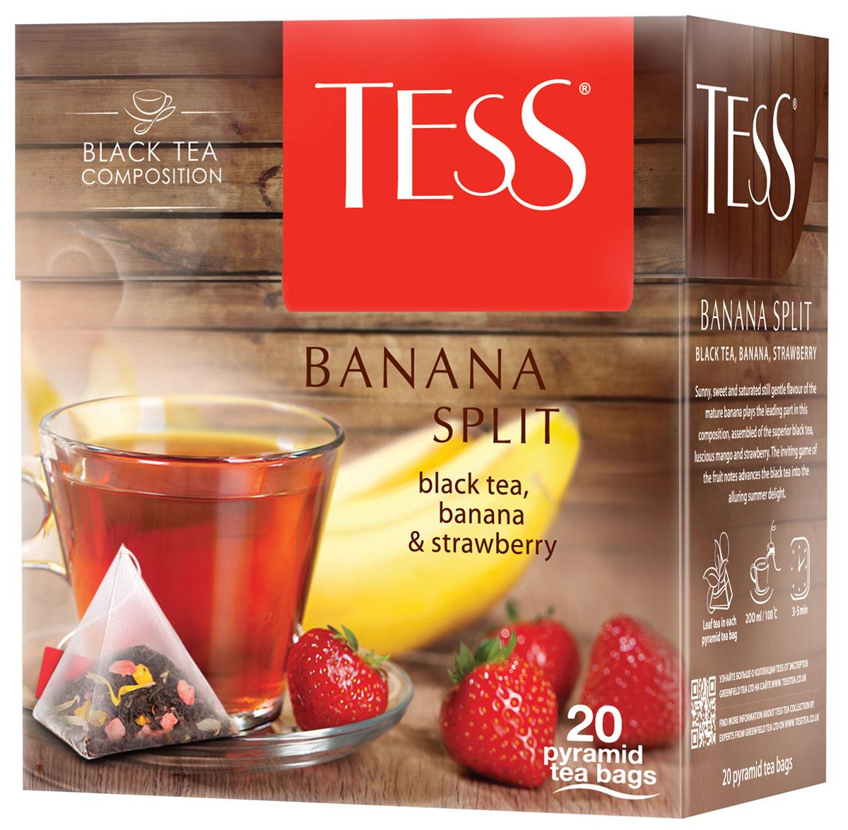 Tess Banana Split фруктовый чай в пакетиках, 20 шт1145-12Солнечный, сладковато-насыщенный, но нежный аромат спелого банана играет главную роль в композиции, составленной из превосходного черного чая Tess Banana Split, сочного манго и клубники. Заманчивая игра фруктовых оттенков превращает черный чай в соблазнительный летний десерт.