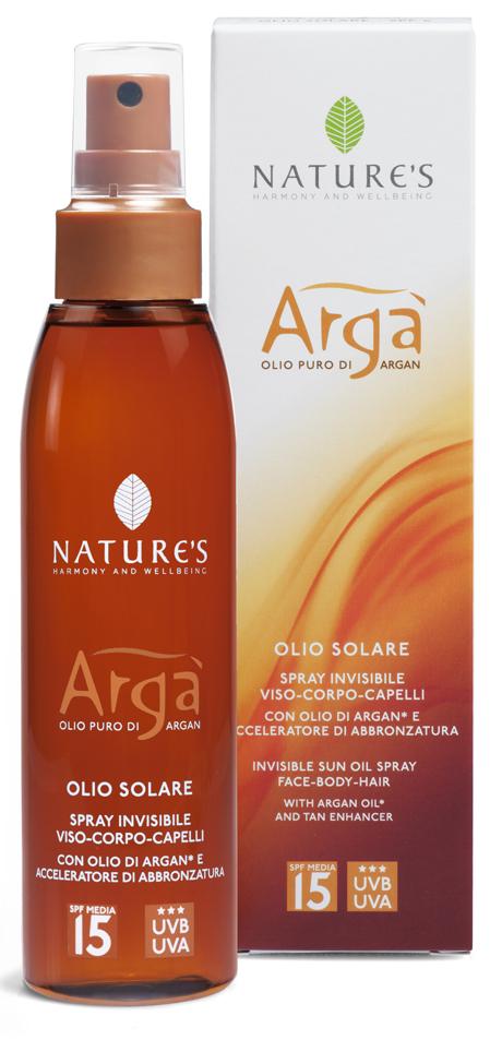Natures Arga Масло для лица и тела SPF15, 150 мл60150927Инновационное средство с высоким фактором защиты от солнца рекомендуется для светлой и нормальной кожи. Свежая, легкая, незаметная текстура на основе масла Арги содержит витамины и антиоксиданты, надежно сохраняет, увлажняет и питает кожу, быстро впитывается, не оставляя жирного блеска. Специальные компоненты – активаторы загара Oleoyl tyrosine (Олеоил Тирозина) и Loofah oil (масло Люфы) способствуют получению красивого бронзового оттенка кожи. Эксперты (BSRS 2008) отмечают хорошую защиту от фотостарения (UVA-лучей) и от повреждения кожных покровов (UVB-лучей). Эсхансеры обеспечивают доставку активных компонентов через эпидермис, не повреждая естественный липидный слой кожи. Средство водостойкое, не содержит парабены. Проведены контрольные дерматологические тесты и тесты на содержание никеля. Товар сертифицирован.