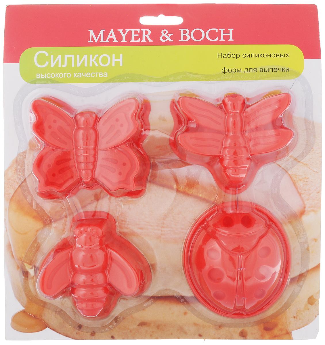 Набор форм для выпечки Mayer & Boch, цвет: красный, 4 шт22079_красныйНабор Mayer & Boch состоит из 4 форм, которые выполнены в виде насекомых. Изделия изготовлены из высококачественного силикона, выдерживающего температуру от -40°C до +210°C. Если вы любите побаловать своих домашних вкусным и ароматным угощением по вашему оригинальному рецепту, то формы Mayer & Boch как раз то, что вам нужно! Можно использовать в духовом шкафу и микроволновой печи без использования режима гриль. Подходит для морозильной камеры и мытья в посудомоечной машине. Средний размер форм: 7 х 7 х 3 см.