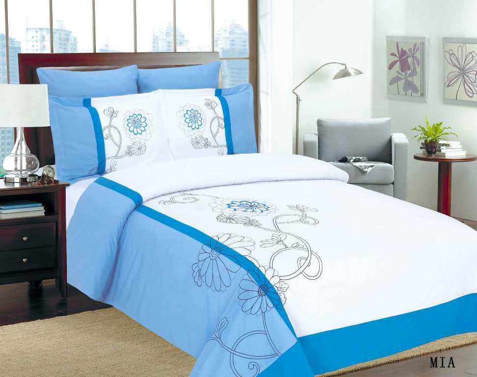 """Комплект белья Arya """"Mia"""", 2-х спальный, наволочки 50x70, 70x70, цвет: белый, синий F0088334"""