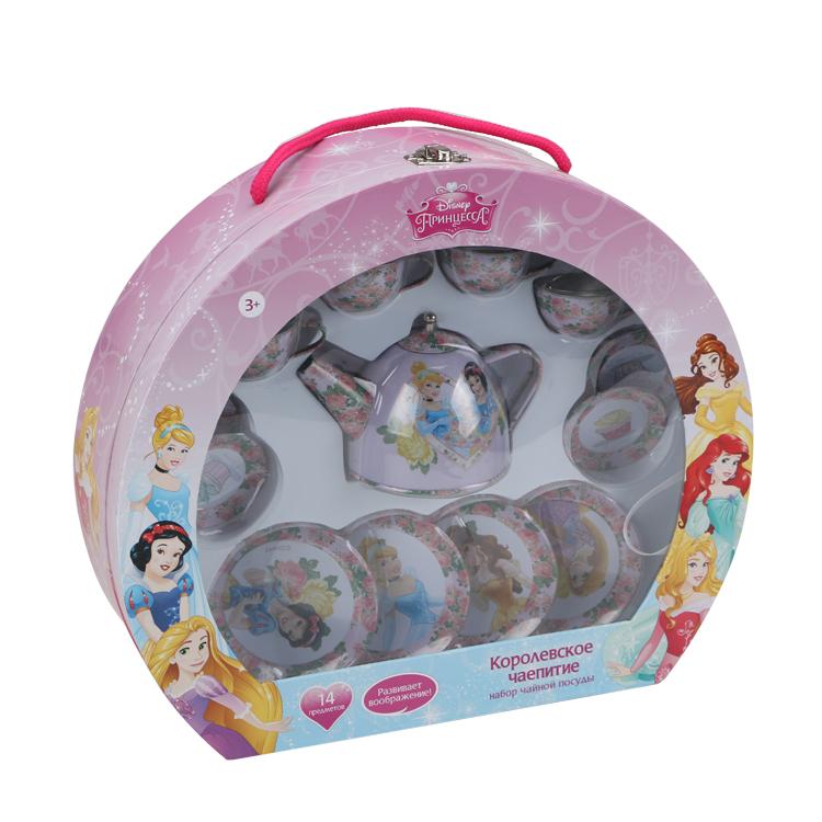 Disney Игровой набор детской посуды Принцесса Королевское чаепитиеDSN0201-005Главной особенностью набора является фирменное и красочное оформление, выполненное совместно с компанией Disney. Каждый элемент тщательно проработан и детализирован – от упаковки до самого маленького блюдца. Материал посуды – прочный, легкий металл, который не разобьется во время игры. В набор чайной посуды Королевское чаепитие входит 14 предметов: - 8 блюдец разного размера - 4 чашки - 1 чайник с крышкой