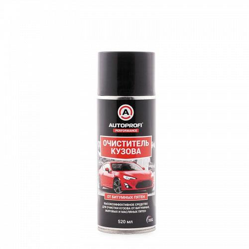 Очиститель кузова Autoprofi от битумных, жировых и масляных пятен, 520 мл150603Высокоэффективное средство служит для очистки кузова и стекол автомобиля от битумных, жировых и масляных загрязнений, а также консервационных покрытий. Активные компоненты эффективно растворяют и очищают поверхность от загрязнений. Средство не оказывает вредного воздействия на лакокрасочное покрытие, пластик, резину и хромированные детали автомобиля. Способ применения. Встряхнуть баллон и равномерно нанести средство на обрабатываемую поверхность. В зависимости от степени загрязнения дать ему подействовать 1–3 минуты. Удалить загрязнение губкой или мягкой тканью не дожидаясь высыхания состава. При необходимости повторить процедуру еще раз. По окончании обработки смыть водой и протереть досуха мягкой сухой тканью. Условия хранения. Хранить в сухом проветриваемом месте при температуре от –20°С до +50°С.