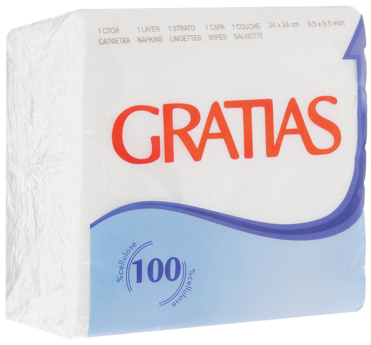 Салфетки бумажные Gratias, однослойные, 24 х 24 см, 90 шт91387Однослойные бумажные салфетки Gratias, выполненные из 100% первичного волокна, станут отличным дополнением любого праздничного стола. Они отличаются необычной мягкостью и прочностью. Размер листа: 24 х 24 см. Количество слоев: 1.