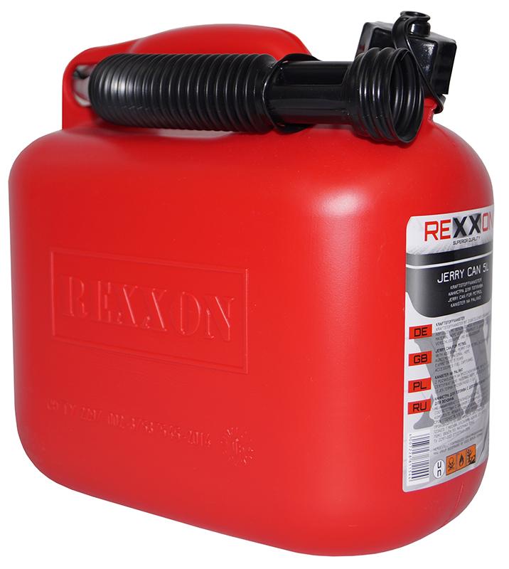 Канистра REXXON для топлива, пластиковая с гибким шлангом, 5 л1-01-1-1-0Пластиковая канистра для топлива 5 Л с гибким съемным шлангом для удобства налива, закрепленным на канистре.