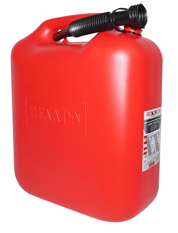 Канистра REXXON для топлива, пластиковая с гибким шлангом, 20 л1-01-3-1-0Пластиковая канистра для топлива 10 Л с гибким съемным шлангом для удобства налива, закрепленным на канистре.