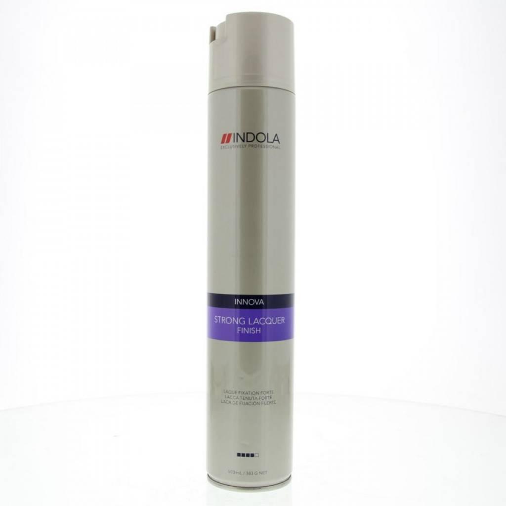 Indola Лак для волос сильной фиксации Innova Finish Strong Laquer - 500 мл1580555/155563СТИКЛак для волос сильной фиксации Индола идеально фиксирует прическу благодаря фильмформерам и специальной технологии микрораспыления. Лак моментально высыхает и легко удаляется с волос при расчесывании, не оставляя белого налета.