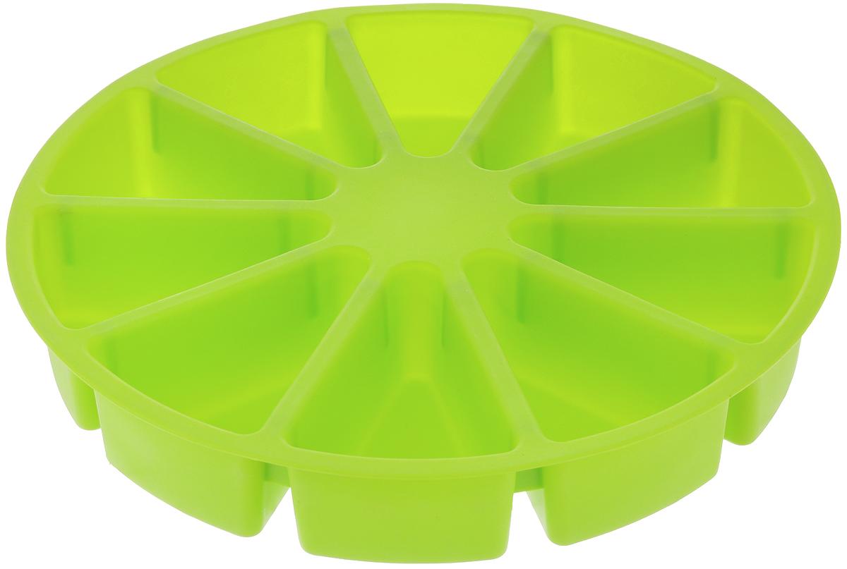 Форма для выпечки Calve, силиконовая, цвет: салатовый, диаметр 30 смCL-4600_салатовыйФорма для выпечки Calve круглой формы изготовлена из высококачественного силикона. Стенки формы легко гнутся, что позволяет легко достать готовую выпечку и сохранить аккуратный внешний вид блюда. Изделия из силикона очень удобны в использовании: пища в них не пригорает и не прилипает к стенкам, форма легко моется. Приготовленное блюдо можно очень просто вытащить, просто перевернув форму, при этом внешний вид блюда не нарушится. Изделие обладает эластичными свойствами: складывается без изломов, восстанавливает свою первоначальную форму. Порадуйте своих родных и близких любимой выпечкой в необычном исполнении. Подходит для приготовления в микроволновой печи и духовом шкафу при нагревании до +230°С; для замораживания до -40°. Размер формы: 30 х 30 х 5 см. Размер одной секции: 10,5 х 7 см.