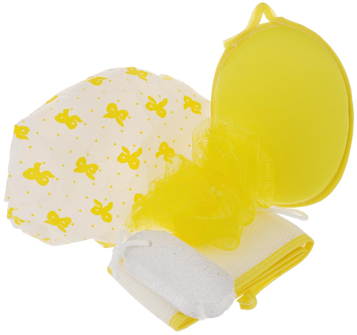 Набор банный Дом и все, что в нем, цвет: желтый, белый, 5 предметов820-862_желтыйБанный набор Дом и все, что в нем, изготовленный из полимерных материалов, состоит из трех мочалок, шапочки для душа и пемзы. Мочалки предназначены для мягкого очищения кожи. Прекрасно взбивают мыло и гель для душа, дают обильную пену, обладают легким массажным воздействием, идеально подходят для нежной и чувствительной кожи. Пемза эффективно удалит огрубевшую, сухую кожу ступней и локтей, делая их мягкими и гладкими. Шапочка защитит волосы от намокания во время принятия душа. Диаметр основания шапочки: 27 см. Высота шапочки: 19 см. Диаметр мочалки-помпона: 9 см. Длина мочалки с ручками: 56 см. Размер мочалки-овала: 15 см х 12 см х 3 см. Размер пемзы: 9,5 см х 4,5 см х 1,5 см.
