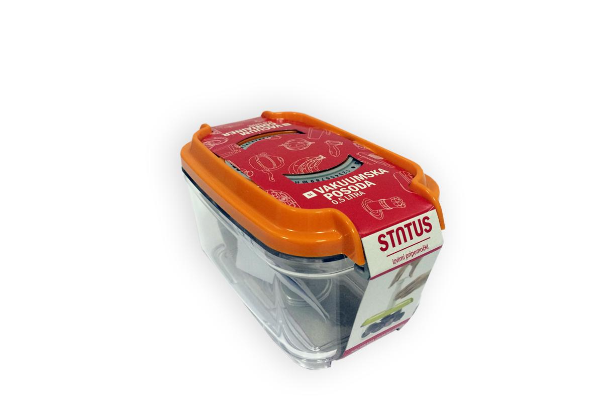 Контейнер вакуумный Status, цвет: прозрачный, оранжевый, 0,5 лVAC-REC-05 OrangeВакуумный контейнер Status рекомендован для хранения следующих продуктов: сахара, кофе, травы, специи, различные сладости. Благодаря использованию вакуумных контейнеров, продукты не подвергаются внешнему воздействию и срок хранения значительно увеличивается. Продукты сохраняют свои вкусовые качества и аромат, а запахи в холодильнике не перемешиваются. Контейнер изготовлен из прочного хрустально-прозрачного тритана. На крышке - индикатор даты (месяц, число). Допускается замораживание (до -21 °C), мойка контейнера в посудомоечной машине, разогрев в СВЧ (без крышки). Объем контейнера: 0,5 л. Размер: 15,5 х 9 х 8,5 см.
