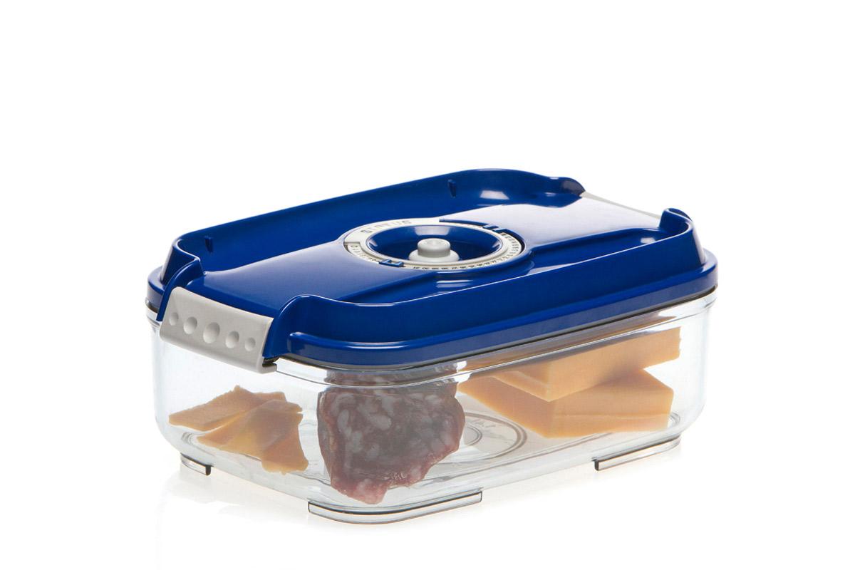 Контейнер вакуумный Status, цвет: прозрачный, синий, 1,4 лVAC-REC-14 BlueВакуумный контейнер Status рекомендован для хранения следующих продуктов: фрукты, овощи, хлеб, колбасы, сыры, сладости, соусы, супы. Благодаря использованию вакуумных контейнеров, продукты не подвергаются внешнему воздействию и срок хранения значительно увеличивается. Продукты сохраняют свои вкусовые качества и аромат, а запахи в холодильнике не перемешиваются. Контейнер изготовлен из прочного хрустально-прозрачного тритана. На крышке - индикатор даты (месяц, число). Допускается замораживание (до -21 °C), мойка контейнера в посудомоечной машине, разогрев в СВЧ (без крышки). Объем контейнера: 1,4 л. Размер: 22,5 х 15,5 х 8,5 см.
