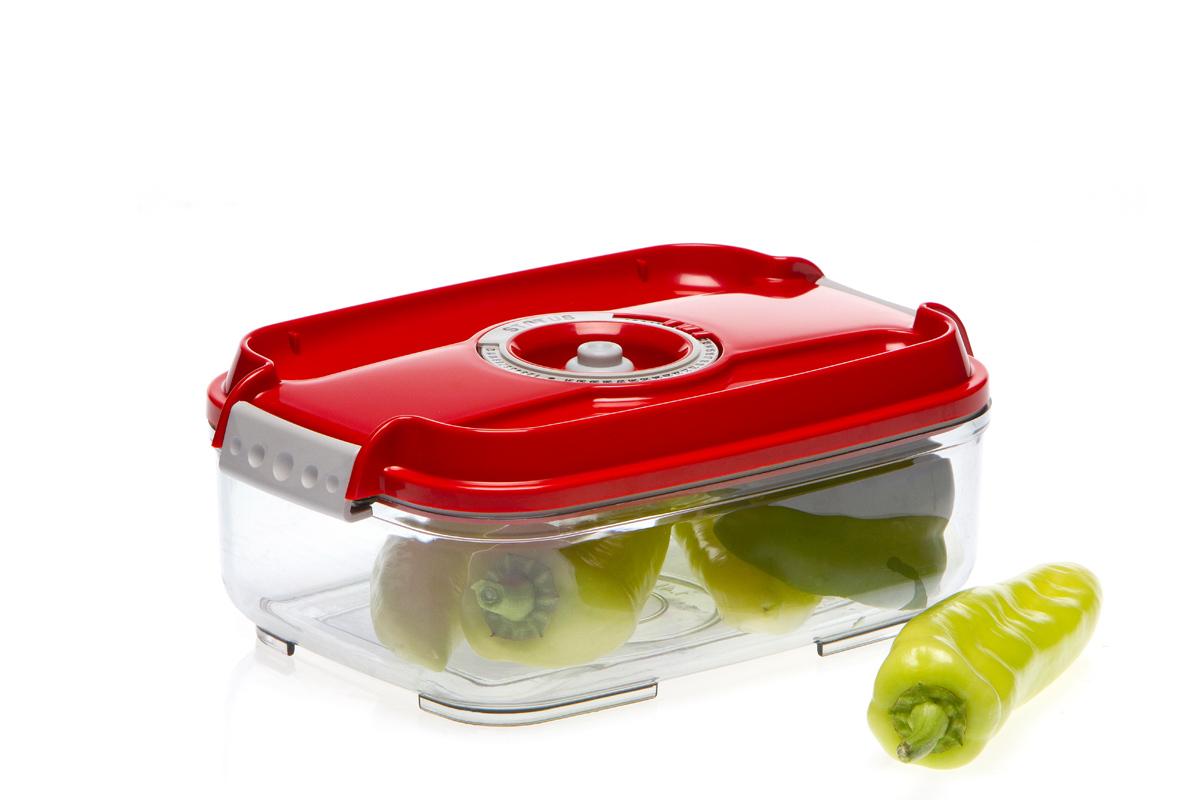 Контейнер вакуумный Status, цвет: прозрачный, красный, 1,4 лVAC-REC-14 RedВакуумный контейнер Status рекомендован для хранения следующих продуктов: колбасы, сыры, свежее мясо, яйца, фрукты и овощи. Благодаря использованию вакуумных контейнеров, продукты не подвергаются внешнему воздействию и срок хранения значительно увеличивается. Продукты сохраняют свои вкусовые качества и аромат, а запахи в холодильнике не перемешиваются. Контейнер изготовлен из прочного хрустально-прозрачного тритана. На крышке - индикатор даты (месяц, число). Допускается замораживание (до -21 °C), мойка контейнера в посудомоечной машине, разогрев в СВЧ (без крышки). Объем контейнера: 1,4 л. Размер: 22,5 х 15,5 х 8,5 см.