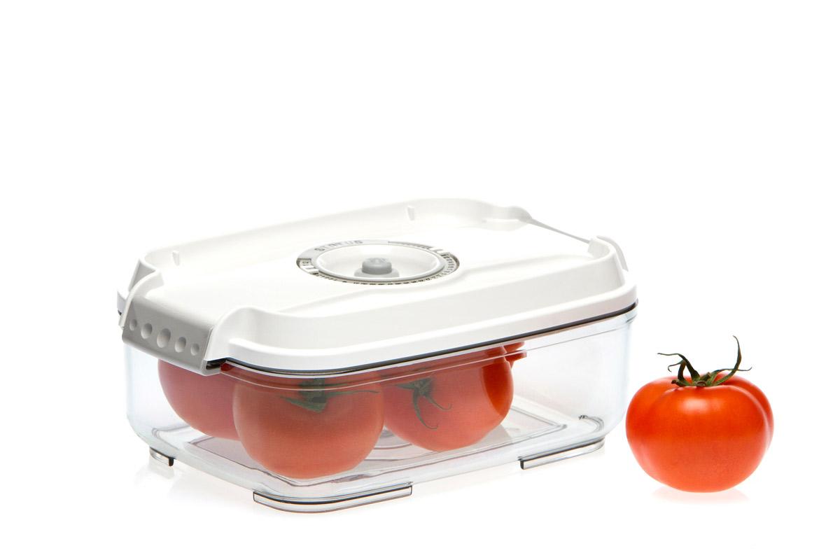 Контейнер вакуумный Status, цвет: прозрачный, белый, 1,4 лVAC-REC-14 WhiteВакуумный контейнер Status рекомендован для хранения следующих продуктов: колбасы, сыры, свежее мясо, яйца, фрукты и овощи. Благодаря использованию вакуумных контейнеров, продукты не подвергаются внешнему воздействию и срок хранения значительно увеличивается. Продукты сохраняют свои вкусовые качества и аромат, а запахи в холодильнике не перемешиваются. Контейнер изготовлен из прочного хрустально-прозрачного тритана. На крышке - индикатор даты (месяц, число). Допускается замораживание (до -21 °C), мойка контейнера в посудомоечной машине, разогрев в СВЧ (без крышки). Объем контейнера: 1,4 л. Размер: 22,5 х 15,5 х 8,5 см.