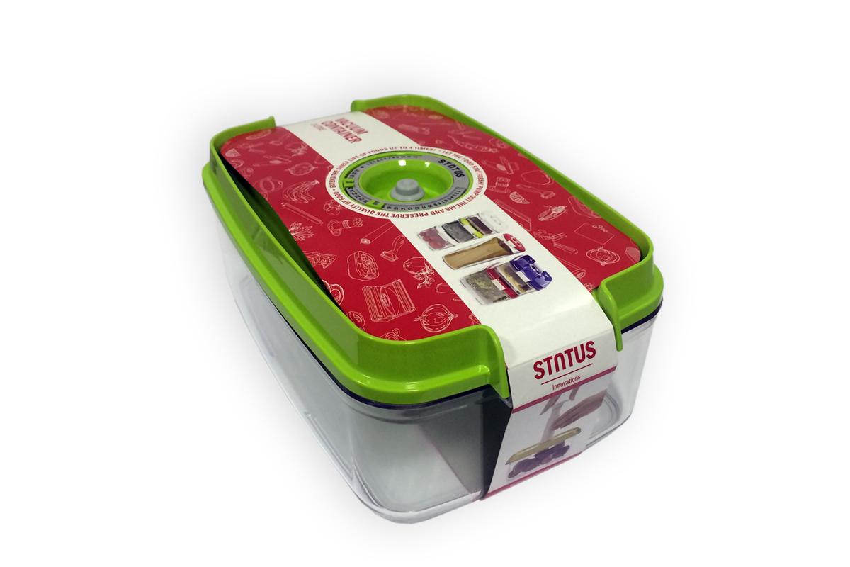 Контейнер вакуумный Status, цвет: прозрачный, зеленый, 3 л. VAC-REC-30VAC-REC-30 GreenБлагодаря использованию вакуумных контейнеров, продукты не подвергаются внешнему воздействию, и срок хранения значительно увеличивается. Продукты сохраняют свои вкусовые качества и аромат, а запахи в холодильнике не перемешиваются. Контейнер для хранения продуктов в вакууме Прочный хрустально-прозрачный тритан Прямоугольная форма Объем 3,0 литра Индикатор даты (месяц, число) BPA-Free Размер: 29,5 x 18,5 x 11,5 см Сделано в Словении Допускается замораживание (до -21 °C), мойка контейнера в посудомоечной машине, разогрев в СВЧ (без крышки). Рекомендовано хранение следующих продуктов: фрукты, овощи, хлеб, колбасы, сыры, соусы, супы. Вакуумный контейнер объёмом 3,0 л может устойчиво храниться сверху на вакуумном контейнере 4,5 л.