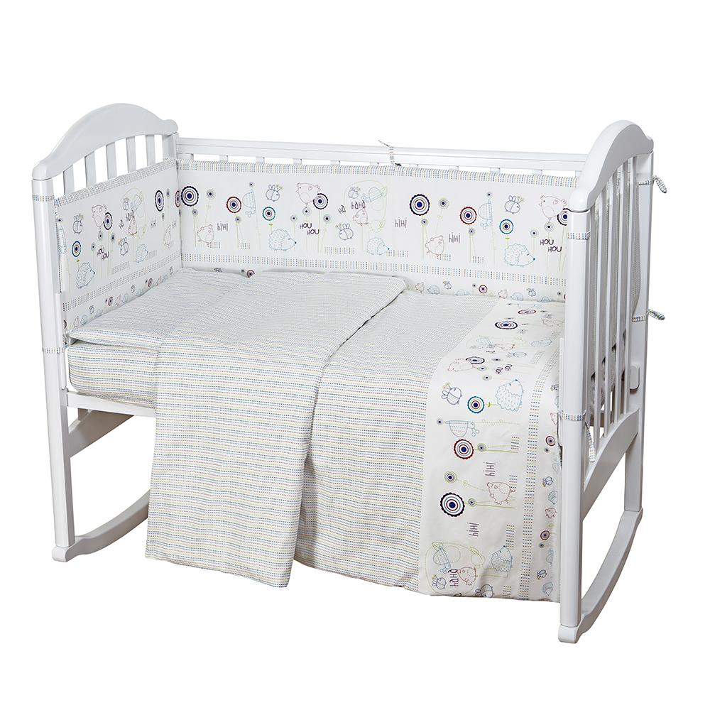Baby Nice Комплект в кроватку Ежик цвет белыйН613-06Комплект в кроваткудля самых маленьких должен быть изготовлен только из самой качественной ткани, самой безопасной и гигиеничной, самой экологичнойи гипоаллергенной. Отлично подходит для кроваток малышей, которые часто двигаются во сне. Хлопковое волокно прекрасно переносит стирку, быстро сохнет и не требует особого ухода, не линяет и не вытягивается. Ткань прошла специальную обработку по умягчению, что сделало её невероятно мягкой и приятной к телу. (простынь 112х147, пододеяльник 112х147, наволочка 40х60, борт( 120х35-2 шт., 60х35-2 шт.) , одеяло с наполнителем файбер 110х140, подушка 40х60