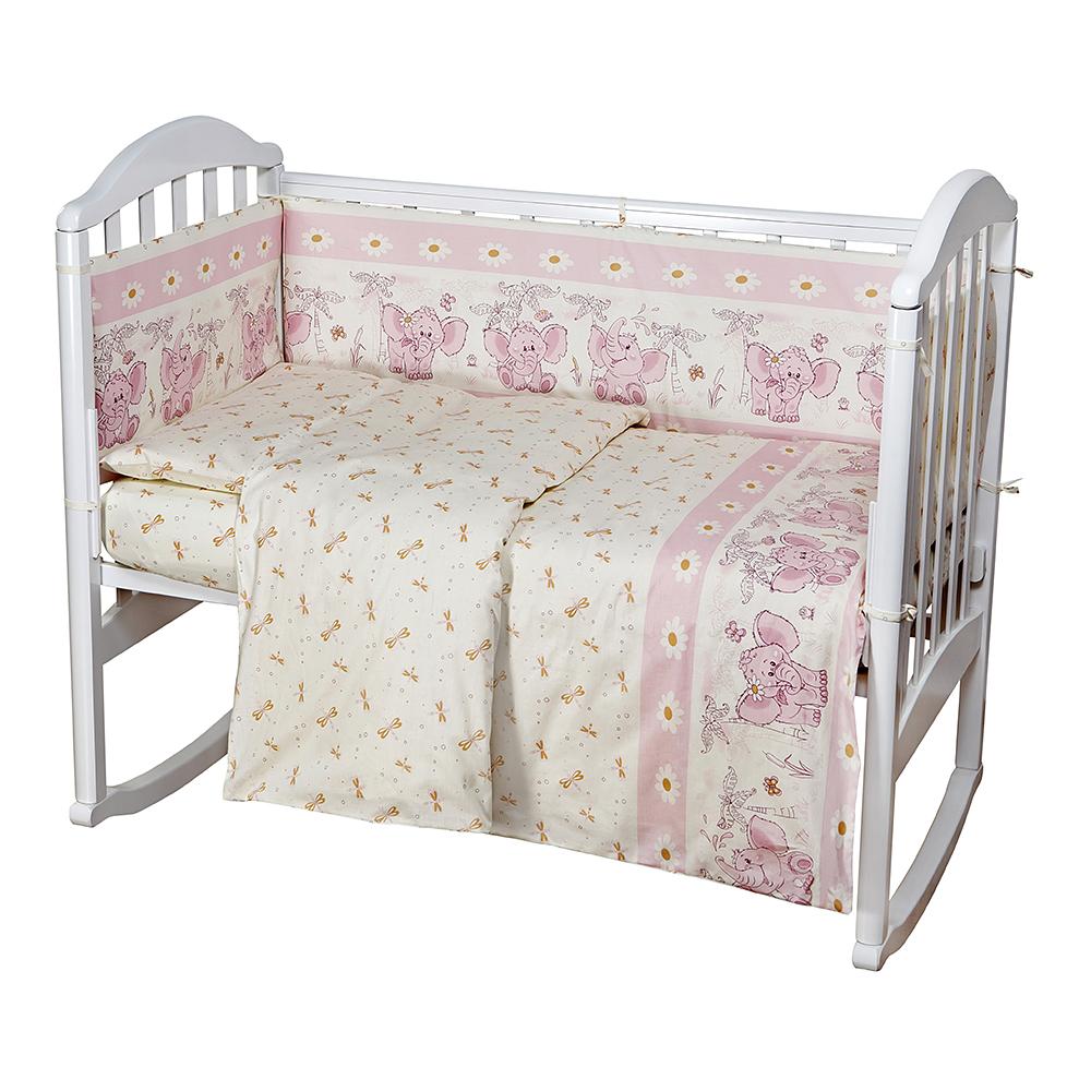 Baby Nice Комплект белья для новорожденных Слоненок цвет розовыйC0151-01Постельное бельё, сшито из качественной бязи импортного производства.Бельё не деформируется, цвет не выстирывается. наволочка 40х60, пододеяльник 112х147,простынь на резинке для матраса 60х120.