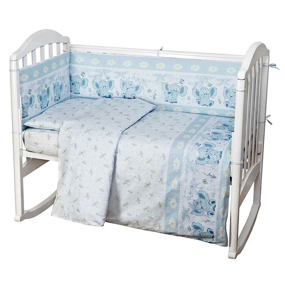 Baby Nice Комплект белья для новорожденных Слоненок цвет голубойC0151-01Постельное бельё, сшито из качественной бязи импортного производства.Бельё не деформируется, цвет не выстирывается. наволочка 40х60, пододеяльник 112х147,простынь на резинке для матраса 60х120.