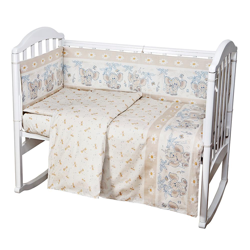 Baby Nice Комплект белья для новорожденных Слоненок цвет бежевыйC0151-01Постельное бельё, сшито из качественной бязи импортного производства.Бельё не деформируется, цвет не выстирывается. наволочка 40х60, пододеяльник 112х147,простынь на резинке для матраса 60х120.