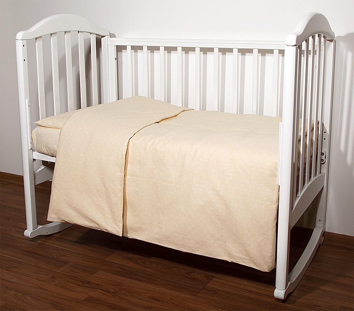 Baby Nice Комплект белья для новорожденных Горох цвет бежевыйС1112Постельное бельё, сшито из качественной бязи импортного производства.Бельё не деформируется, цвет не выстирывается. наволочка 40х60, пододеяльник 112х147,простынь 110х147