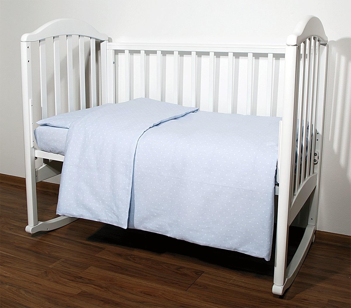 Baby Nice Комплект белья для новорожденных Горох цвет голубойС1112Постельное бельё, сшито из качественной бязи импортного производства.Бельё не деформируется, цвет не выстирывается. наволочка 40х60, пододеяльник 112х147,простынь 110х147