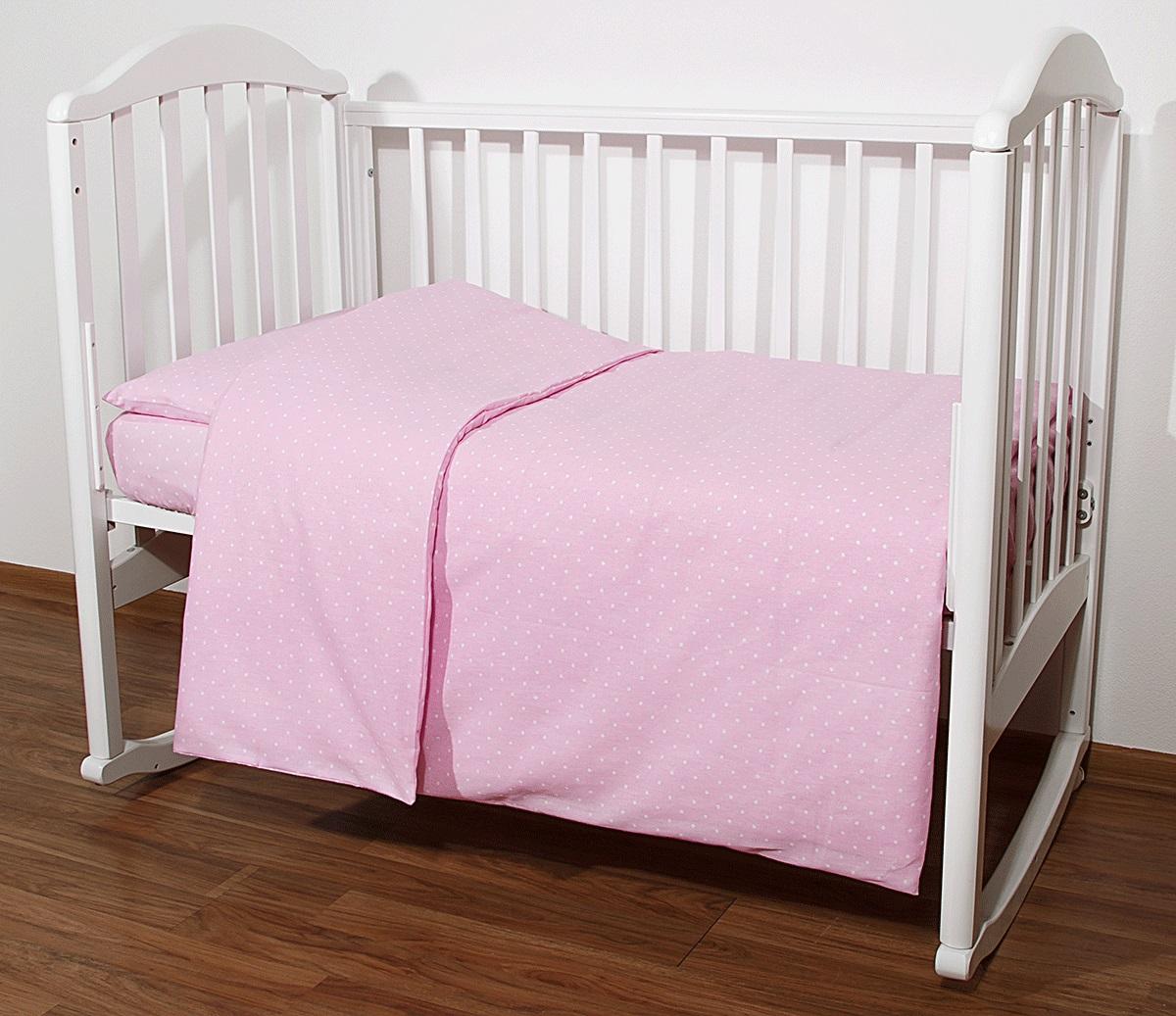 Baby Nice Комплект белья для новорожденных Горох цвет розовыйС1112Постельное бельё, сшито из качественной бязи импортного производства.Бельё не деформируется, цвет не выстирывается. наволочка 40х60, пододеяльник 112х147,простынь 60х120