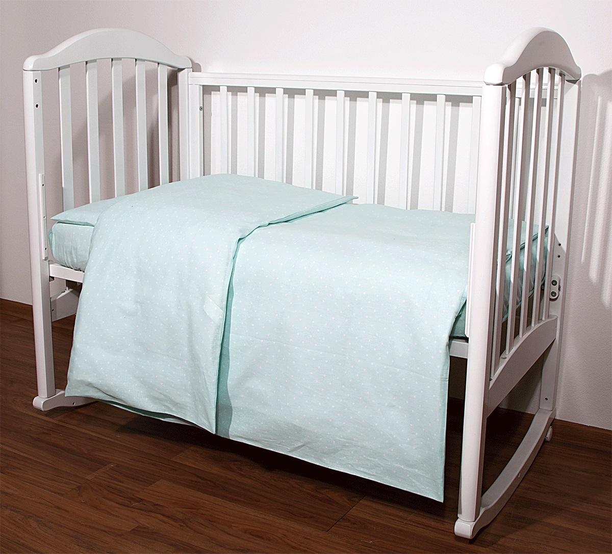 Baby Nice Комплект белья для новорожденных Горох цвет светло-зеленыйС1112Постельное бельё, сшито из качественной бязи импортного производства.Бельё не деформируется, цвет не выстирывается. наволочка 40х60, пододеяльник 112х147,простынь 60х120