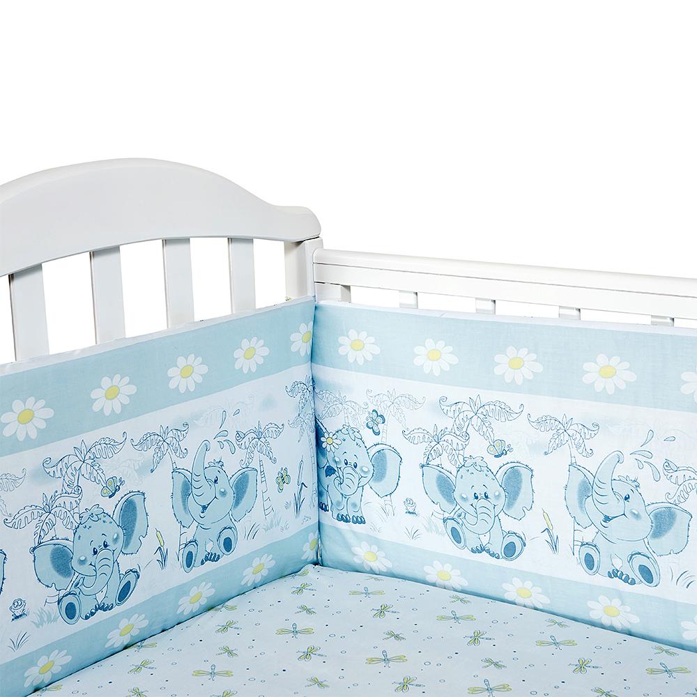 Baby Nice Бортик для кровати Слоненок цвет голубойS6152602Борт в кроватку (его ещё называют бампер) является отличной защитой малыша от сквозняков и ударов при поворотах в кроватке. Ткань верха: 100% хлопок, наполнитель: экологически чистый нетканый материал для мягкой мебели — периотек. Дизайны бортов сочетаются с дизайнами постельного белья, так что, можно самостоятельно сделать полный комплект, идеальный для сна. Борта в кроватку — мягкие удобные долговечные: надежная и эстетичная защита вашего ребенка! 4-е стороны: 120х35-2шт,60х35-2 шт.