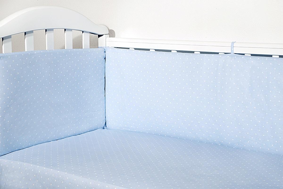 Baby Nice Бортик для кровати Горох цвет голубойS6012702Борт в кроватку (его ещё называют бампер) является отличной защитой малыша от сквозняков и ударов при поворотах в кроватке. Ткань верха: 100% хлопок, наполнитель: экологически чистый нетканый материал для мягкой мебели — периотек. Дизайны бортов сочетаются с дизайнами постельного белья, так что, можно самостоятельно сделать полный комплект, идеальный для сна. Борта в кроватку — мягкие удобные долговечные: надежная и эстетичная защита вашего ребенка! 4-е стороны: 120х35-2шт,60х35-2 шт.