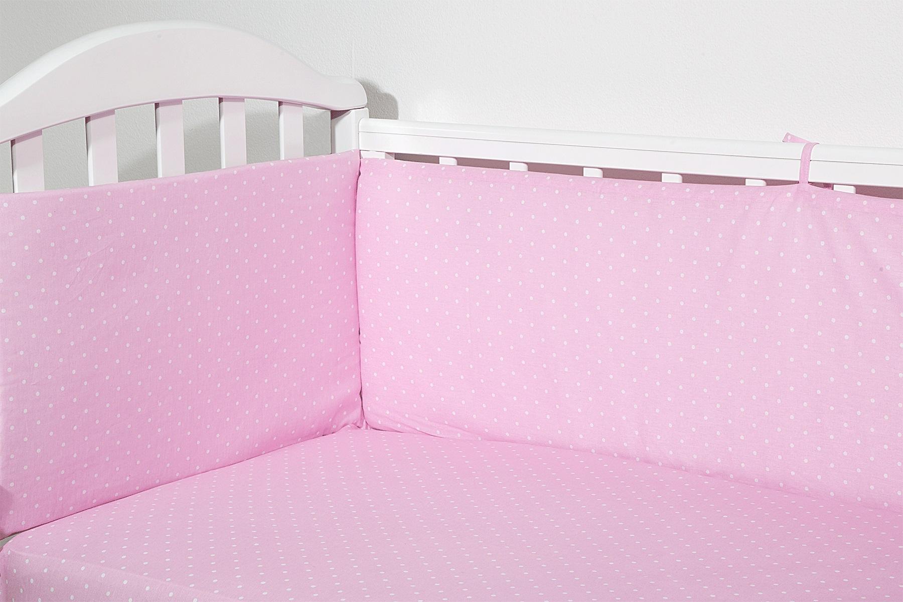 Baby Nice Бортик для кровати Горох цвет розовыйS6012702Борт в кроватку (его ещё называют бампер) является отличной защитой малыша от сквозняков и ударов при поворотах в кроватке. Ткань верха: 100% хлопок, наполнитель: экологически чистый нетканый материал для мягкой мебели - периотек. Дизайны бортов сочетаются с дизайнами постельного белья, так что, можно самостоятельно сделать полный комплект, идеальный для сна. Борта в кроватку - мягкие удобные долговечные: надежная и эстетичная защита вашего ребенка! 4-е стороны: 2 шт.: 120 х 35 см; 2 шт.: 60 х 35 см.
