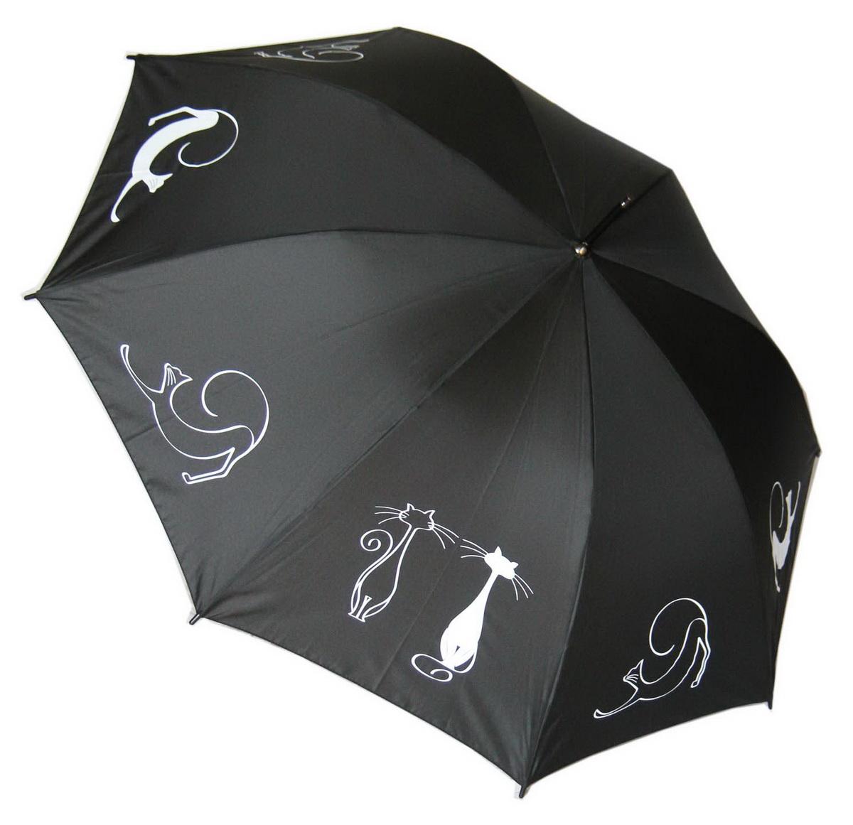 Doppler Зонт Fantasy, трость, система антиветер, лакированная ручка. 740765F cats on black740765F cats on blackЗонт Doppler, всемирно известный бренд, имеющий многолетнюю традицию.