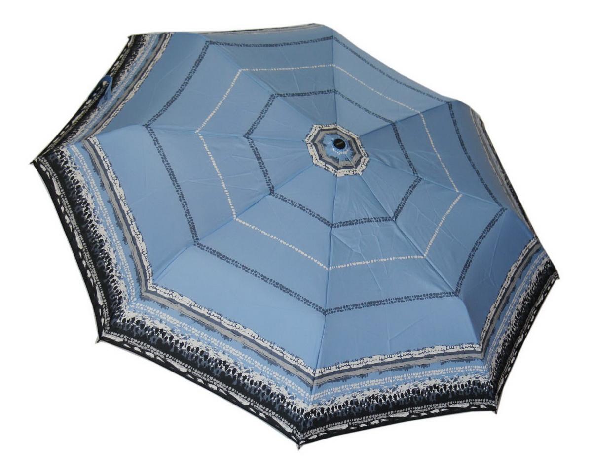"""Doppler Зонт """"Style"""", 3 сложения, система антиветер, лакированная ручка. 744146521 blue wave"""