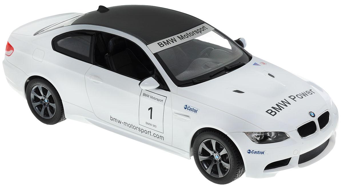 Rastar Радиоуправляемая модель BMW M3 цвет белый48000Радиоуправляемая модель Rastar BMW M3 станет отличным подарком любому мальчику! Все дети хотят иметь в наборе своих игрушек ослепительные, невероятные и крутые автомобили на радиоуправлении. Тем более, если это автомобиль известной марки с проработкой всех деталей, удивляющий приятным качеством и видом. Одной из таких моделей является автомобиль на радиоуправлении Rastar BMW M3. Это точная копия настоящего авто в масштабе 1:14. Авто обладает неповторимым провокационным стилем и спортивным характером. А серьезные габариты придают реалистичность в управлении. Автомобиль отличается потрясающей маневренностью, динамикой и покладистостью. Возможные движения: вперед, назад, вправо, влево, остановка. Имеются световые эффекты. Пульт управления работает на частоте 27 MHz. Для работы игрушки необходимы 5 батареек типа АА (не входят в комплект). Для работы пульта управления необходима 1 батарейка 9V (6F22) (не входит в комплект).