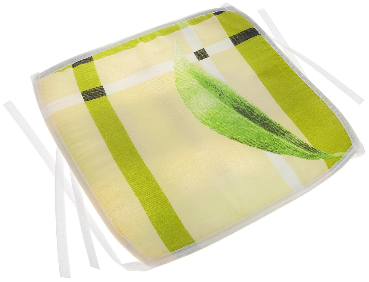 Подушка на стул Eva Листочек, 34 х 34 смЕ06_зеленый листПодушка на стул Eva Листочек, выполненная из хлопка с наполнителем из поролона, легко крепится на стул с помощью завязок. Изделие оформлено изображением листьев и геометрическими фигурами. Рекомендации по уходу: Деликатная стирка при температуре воды до 30°С. Отбеливание, барабанная сушка, химчистка запрещены. Рекомендуется глажка при температуре подошвы утюга до 150°С. Размер подушки: 34 х 34 х 1 см.