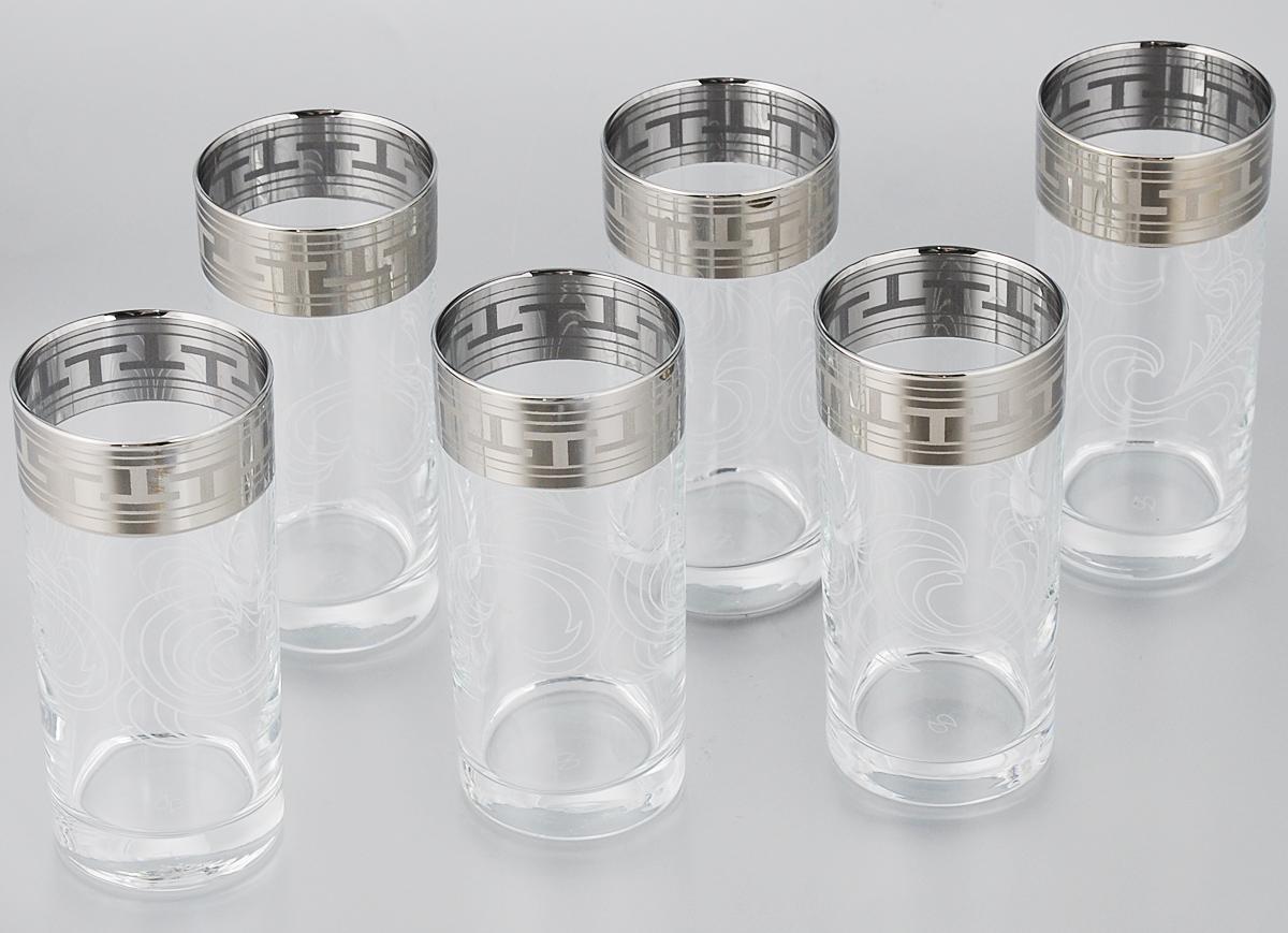 Набор стаканов для сока Гусь-Хрустальный Греческий узор, 290 мл, 6 штGE01-402Набор Гусь-Хрустальный Греческий узор состоит из 6 высоких стаканов, изготовленных из высококачественного натрий-кальций-силикатного стекла. Изделия оформлены красивым зеркальным покрытием и широкой окантовкой с оригинальным орнаментом. Стаканы предназначены для подачи сока, а также воды и коктейлей. Такой набор прекрасно дополнит праздничный стол и станет желанным подарком в любом доме. Разрешается мыть в посудомоечной машине. Диаметр стакана (по верхнему краю): 6,2 см. Высота стакана: 13,5 см. Уважаемые клиенты! Обращаем ваше внимание на незначительные изменения в дизайне товара, допускаемые производителем. Поставка осуществляется в зависимости от наличия на складе.