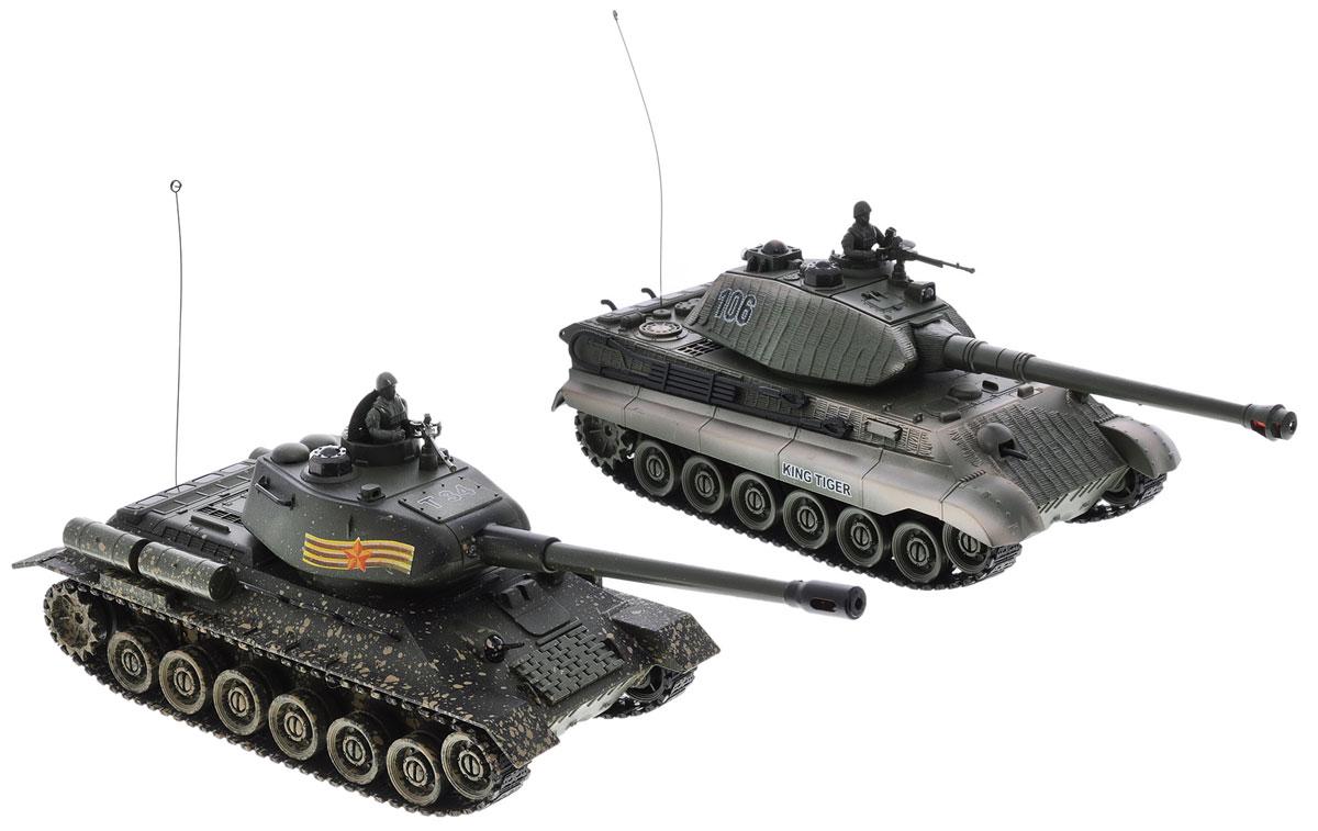 Пламенный мотор Набор танков на радиоуправлении Т-34 vs King Tiger870164Набор танков на радиоуправлении Пламенный мотор Т-34 vs King Tiger - отличный подарок не только ребенку, но и взрослому, увлекающемуся военной техникой. Набор включает в себя радиоуправляемые модели легендарных танков времен Великой Отечественной Войны - советского Т34 и немецкого King Tiger, между которыми можно устроить настоящий танковый бой! Танки изготовлены из прочного пластика и оснащены световыми эффектами. Пушки танков поднимаются и опускаются, башни поворачиваются. При помощи пульта управления танки могут двигаться вперед, назад, поворачивать влево и вправо, вращаться на 360°. Набор оснащен звуковыми эффектами: во время сражения раздаются реалистичные звуки выстрелов, звук движущейся машины и шум поворота пушки. На башне каждого танка имеется световой индикатор жизней - вы можете устроить настоящее танковое сражение, при помощи инфракрасного наведения целясь в башню вражеской машины. Набор танков на радиоуправлении подарит...