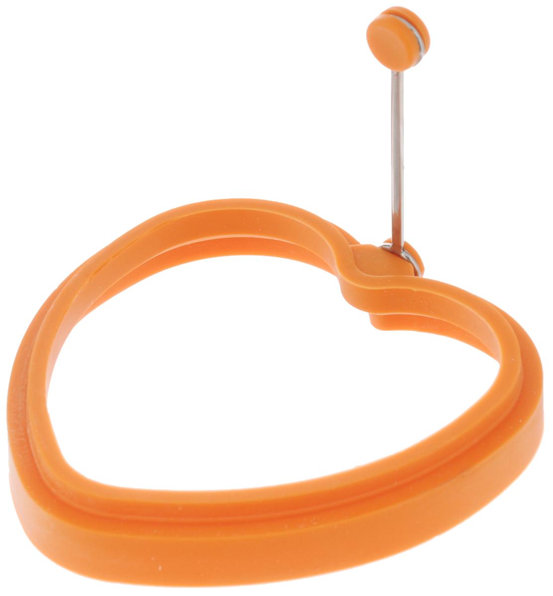 Форма для яичницы Mayer & Boch Сердце, цвет: оранжевый24202_оранжевыйФорма Mayer & Boch Сердце выполнена из силикона и предназначена для приготовления яичницы, выпекания блинов необычной формы и многого другого. Необходимо просто залить приготавливаемую массу внутрь формочки, расположенной на сковородке, и подождать, пока блюдо не дойдет до нужной кондиции. Форма оснащена металлической ручкой с силиконовой вставкой, что облегчит снятие изделия со сковороды и предотвратит появление ожогов. Благодаря такой формочке, вы привнесете немного оригинальности и разнообразия в свой повседневный завтрак. Можно мыть в посудомоечной машине. Размер формы: 11,5 х 11,5 х 2 см. Длина ручки: 8 см.