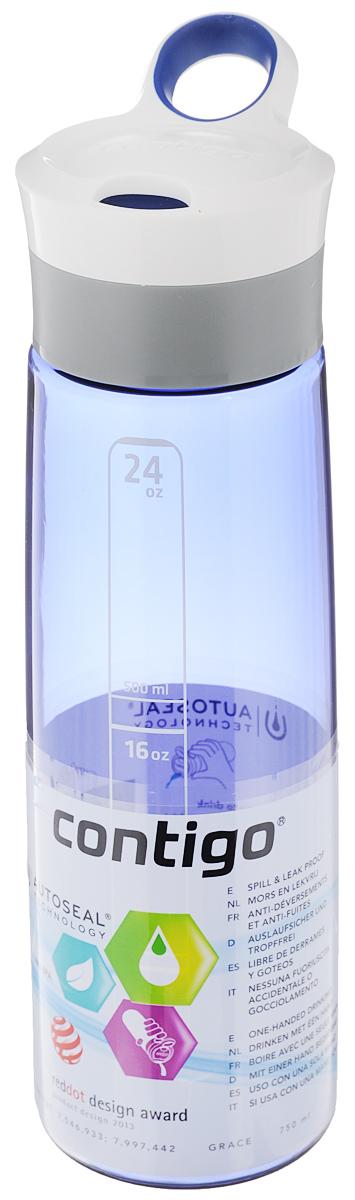 Бутылка для воды Contigo Grace, цвет: синий, белый, 750 млcontigo0202Бутылка для воды Contigo Grace изготовлена из высококачественного прозрачного пластика, безопасного для здоровья. Закручивающаяся крышка с герметичным клапаном для питья обеспечивает защиту от проливания. Оптимальный объем бутылки позволяет взять небольшую порцию напитка. Она легко помещается в сумке или рюкзаке и всегда будет под рукой. Изделие имеет мерную шкалу, которая позволит контролировать количество жидкости. Такая идеальная бутылка небольшого размера, но отличной вместимости наполняет оптимизмом, даря заряд позитива и хорошего настроения. Бутылка для воды Contigo Grace - отличное решение для прогулки, пикника, автомобильной поездки, занятий спортом и фитнесом. Высота бутылки (с учетом крышки): 26 см. Диаметр дна: 6,5 см.