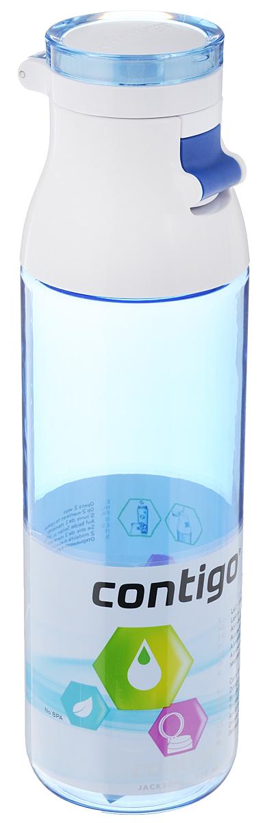 Бутылка для воды Contigo Jackson, цвет: синий, белый, 720 млcontigo0332Бутылка для воды Contigo Jackson изготовлена из высококачественного пластика, безопасного для здоровья. Крышка открывается одним нажатием кнопки. Оптимальный объем бутылки позволяет взять небольшую порцию напитка. Она легко помещается в сумке или рюкзаке и всегда будет под рукой. Такая идеальная бутылка небольшого размера, но отличной вместимости наполняет оптимизмом, даря заряд позитива и хорошего настроения. Бутылка для воды Contigo Jackson - отличное решение для прогулки, пикника, автомобильной поездки, занятий спортом и фитнесом. Высота бутылки (с учетом крышки): 24,5 см. Диаметр дна: 6,5 см.