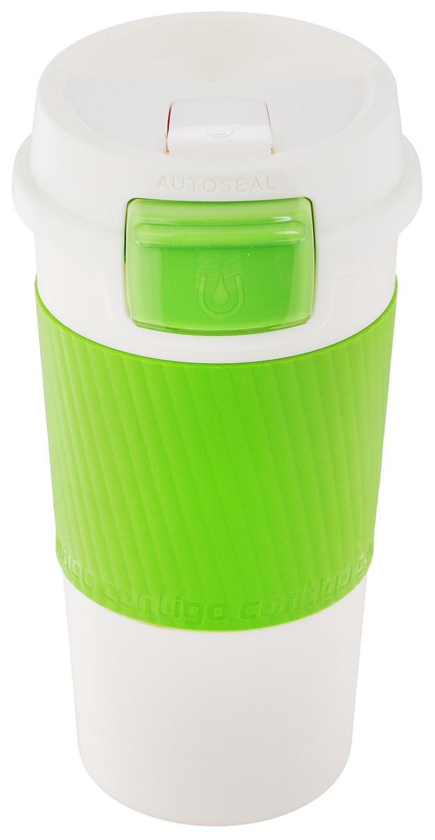 Термокружка Contigo Morgan, с замком, цвет: белый, зеленый, 360 млcontigo0147Термокружка Contigo Morgan, изготовленная из высококачественного пищевого пластика, подходит как для холодных, так и для горячих напитков. Изделие оснащено крышкой с открывающимся клапаном, который предохранит от проливания, а также специальным замком-блокиратором. Благодаря двойным стенкам кружки, вы не обожжетесь, держа ее в руках. Резиновый ободок на корпусе обеспечивает надежный хват и комфорт во время использования. Диаметр (по верхнему краю): 7,5 см. Высота кружки (с учетом крышки): 16,5 см.