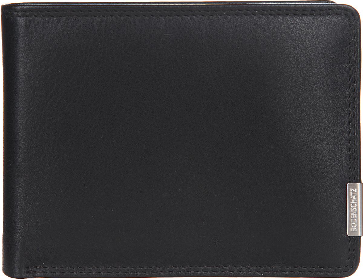 Портмоне мужское Bodenschatz, цвет: черный. 8-656/018-656/01Мужское портмоне Bodenschatz выполнено из натуральной кожи, оформлено металлической фурнитурой с символикой бренда. Портмоне раскладывается пополам. Внутри расположены: два отделения для купюр, шесть прорезных кармашков для кредитных карт, угловой сетчатый карман и карман с сетчатой вставкой, отделение для монет, закрывающееся клапаном на кнопку. Изделие поставляется в фирменной упаковке. Практичное портмоне непременно подойдет к вашему образу и порадует простотой, стилем и функциональностью.