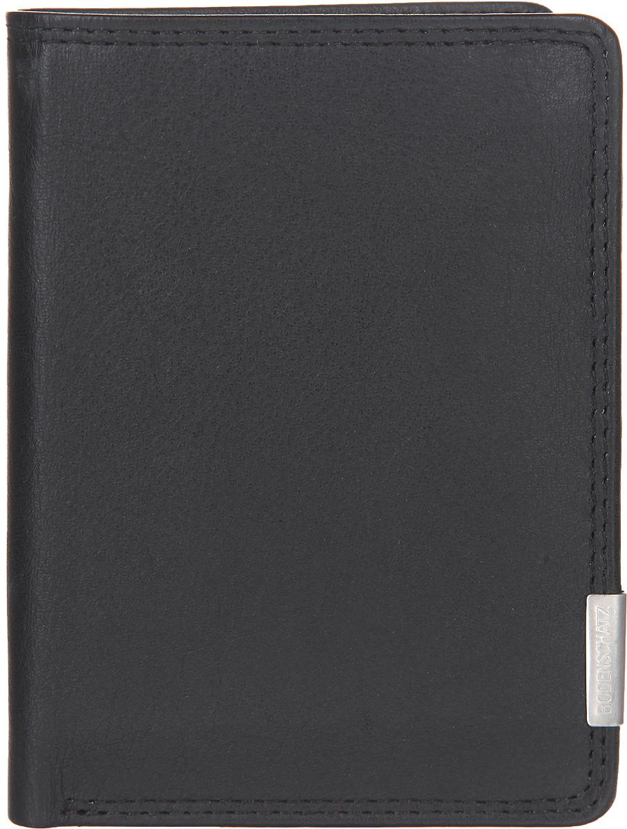 Портмоне мужское Bodenschatz, цвет: черный. 8-390/018-390/01Компактное мужское портмоне Bodenschatz выполнено из натуральной кожи, оформлено металлической фурнитурой с символикой бренда. Портмоне раскладывается пополам. Внутри расположены: два отделения для купюр, шесть прорезных кармашков для кредитных карт, карман с сетчатой вставкой и два потайных кармашка. Изделие поставляется в фирменной упаковке. Практичное портмоне непременно подойдет к вашему образу и порадует простотой, стилем и функциональностью.