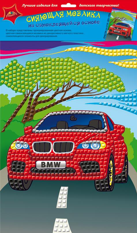 Апплика Мозаика сияющая МашинаС2258-02Сияющая мозаика на самоклеящейся основе А4 из фольгинированного мягкого пластика ЭВА. Набор состоит из: пронумерованной цветной основы, цветной самоклеящейся мозаики из фольгинированного мягкого пластика, самоклеящихся элементов для декорирования.