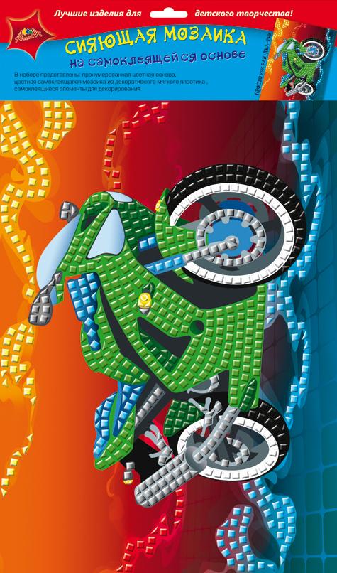 Апплика Мозаика сияющая МотоциклС2258-03Сияющая мозаика на самоклеящейся основе А4 из фольгинированного мягкого пластика ЭВА. Набор состоит из: пронумерованной цветной основы, цветной самоклеящейся мозаики из фольгинированного мягкого пластика, самоклеящихся элементов для декорирования.
